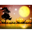 Halloween Moon Night Lake vector image vector image