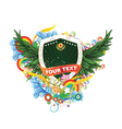 shield with floral and wings vector image vector image
