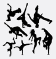 breakdance performance silhouette vector image