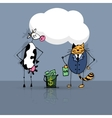 Business deal cat and cow vector image