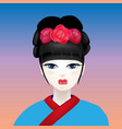 geisha with a white face vector image