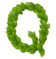 Letter Q of green leaves alphabet vector image