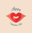 Valentine Heart Kiss on the Lips vector image