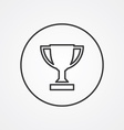 winner cup outline symbol dark on white background vector image
