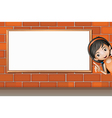 A smiling girl and a white board vector image