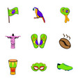 brazilian icons set cartoon style vector image