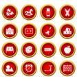 kindergarten symbol icon red circle set vector image