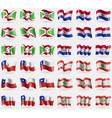 Burundi Paraguay Chile Lebanon Set of 36 flags of vector image