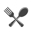 Crossed spoon and fork isolated on white vector image