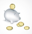 Saving pig with coins vector image
