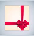 gift box with realistic red bow and ribbon for vector image