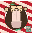 Happy New Year with monkey in candy retro frame vector image