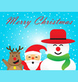 merry christmas - happy reindeer santa claus vector image