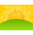 orange sun ascends over a field a vector illustrat vector image