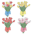 set of tulip flowers vector image