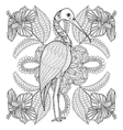 Zentangle Hand drawn Stork in Hibiskus for adult vector image
