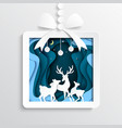 06paper gift box with deers on winter season vector image