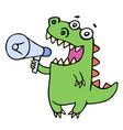 funny smiling dinosaur shouting in megaphone vector image