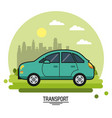 colorful poster of transport with automobile on vector image vector image
