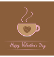 Cup with coffee seeds heart Happy Valentines Day vector image