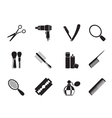 Silhouette make up and hairdressing icons vector image vector image