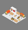 3d isometric logistic and warehouse and vector image