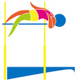 Sport icon design for high jump in colors vector image