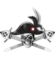 skull in the captain hat and two crossed swords vector image