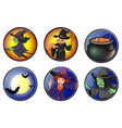 Witches and halloween elements on badges vector image