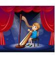 Little girl playing harp on stage vector image vector image