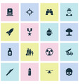 combat icons set collection of dangerous atom vector image