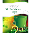Leprechaun hat pot of gold and horseshoe vector image