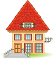 cartoon house with balcony vector image vector image