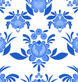 Gzhel flower seamless pattern Flowers and leaves vector image