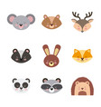 icons set cute animals vector image