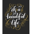 its a beautiful life positive hand lettering vector image