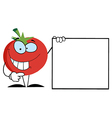 Red Tomato Presenting A Blank Sign vector image