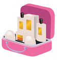 pink suitcase with perfume and cosmetics inside vector image
