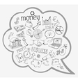 Speech bubble with business and money icons vector image