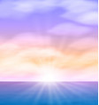 Sea sunset with bright sun light on lens EPS10 vector image