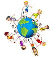 Boys playing soccer around the world vector image