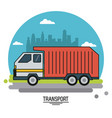 colorful poster of transport with garbage truck on vector image