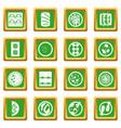 japan food icons set green vector image