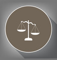 scales of justice sign white icon on vector image