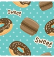 Seamless pattern with macaroon cookies and donuts vector image