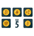 set of 5 basic cryptocurrency vector image