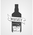 sign or logotype with whiskey bottle and glass vector image