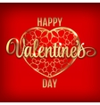 Valentines day greeting with red heart baloons and vector image