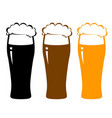 colorful beer glasses with foam vector image