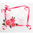 pink roses ribbons background vector image vector image